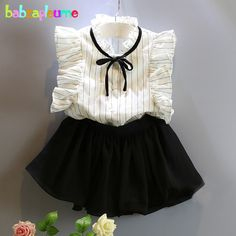 11.90$  Buy now - http://aliy4l.shopchina.info/go.php?t=32594192952 - 2PCS/2-6Years/Summer Baby Girls Clothes Costumes For Kids Suits Stripe T-Shirt+Lace Black Skirt Children Clothing Sets BC1149 11.90$ #magazineonline