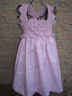 Dress SOFTEST LAVENDER PINK Crochet Bodice and Fabric by ElsaLAbbe, $38.00