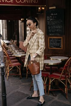 Effortless parisian style with Escada vintage checked blazer Thierry Lasry Potentially golden sunglasses and Moynat bucket bag outfit ideas  • The Fashion Cuisine