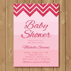 Babyshower invite. Pink glitter invitation. by Alapipetuadesign