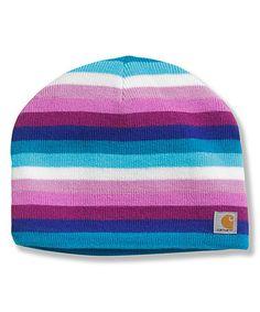 Pink & Blue Stripe Fleece Beanie