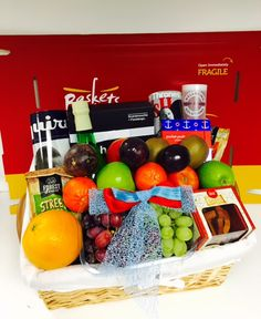 Revitalising fruit basket for him with extra puzzles and magazines to keep him entertained. Get Well Gift Baskets, Gift Baskets For Him, Get Well Soon Gifts, Hamper, Fresh Fruit, Puzzles, Magazines, Entertaining, Food