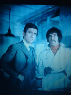 Stewart Sullivan and Jason King (Joel Fabiani and Peter Wyngarde) (photo taken on set of the Department S episode 'Who Plays the Dummy?')