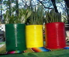 Cinco de Mayo Fiesta Upcycled Big Cans For by NopalitoVintageMore