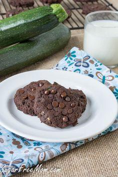 Sugar Free & Gluten Free Chocolate zucchini cookies/sugarfreemom.com