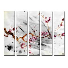 Ready2hangart 'Painted Petals XII' by Ready2HangArt™ 5 Piece Painting Print on Canvas Set