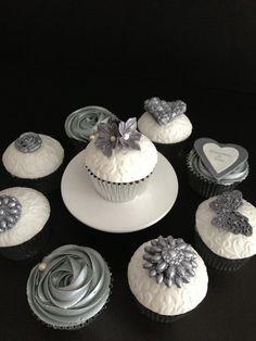 Wedding Designs By Lisa Bridal Cupcakes, New Year's Cupcakes, Silver Cupcakes, White Cupcakes, Themed Cupcakes, Wedding Ideas, Red Wedding, Wedding Bells, Wedding Designs