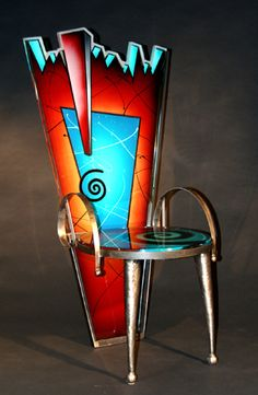 Stunning! Joan Irving Glass Design Flaming Glass Chair JALEN loves this~funky art chair...look...no sit~