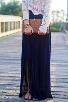 Tory Burch Clutch // Summer Maxi Skirt+crochet top