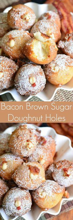 Bacon Brown Sugar Cream Doughnut Holes. Soft, fluffy cream doughnut holes that are made with bacon and brown sugar, filled with cream cheese filling, and coated in powdered sugar.