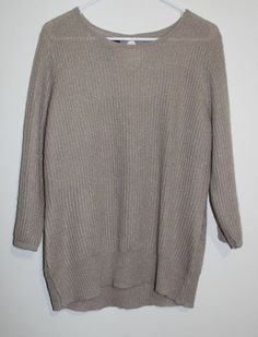 $19.95 Women's Penn Wright Manson Taupe Gold Metallic 3/4 Sleeve Hi Low Sweater Size XL Free Shipping
