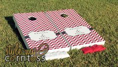 But with pale pink/ blush stripes! Chevron Monogram Couture Cornhole / Classy by stylemycorntoss, via Etsy.