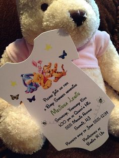 Winnie the Pooh Baby Shower Invitation in shape of a Onesie. By RSVP Custom Creations