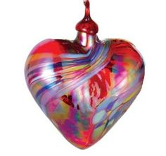 "Mt. St. Helens Ash Hand Blown Glass Heart Ornament - Holiday Swirl - 3"" wide - Pacific Northwest Shop"
