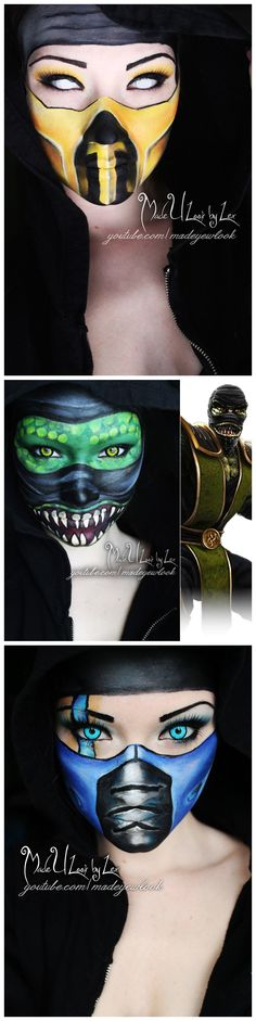 Mortal Kombat #cosplay #makeup, Scorpion, Reptile, Subzero | madeulookbylex.deviantart.com/gallery/44758824  Madeulookbylex uses Mehron Paradise Makeups!  For tips and tricks using Mehron Paradise cakes check out our blog: