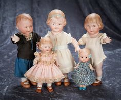 A Wonderful Family of German All-Bisque Characters by Gebruder Heubach 1000/1700