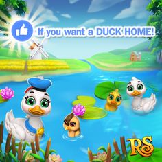 Do you wanna build a Home for your ducks?  Then hit LIKE if your answer is YES!   If there are more than 4000 LIKES from all versions tomorrow King Jarvis will bring the Duck Home to the Shop very soon!  The deadline is Wednesday 7:00 AM (UTC time) June 13th 2017. LIKE NOW! Together we can win!  Share this post to ask your friends to hit LIKE too! Let's play Royal Story together!  http://t.funplus.com/trenfpu #RoyalStoryTwitter