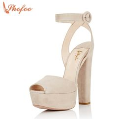 68.00$  Watch more here - http://aityj.worlditems.win/all/product.php?id=32798783086 - Shofoo New Beige Peep Toe High Thick Heels Cross Strap Platform Gladiator Sandals Casual Women Brand Shoes Sapato De Salto 4-16