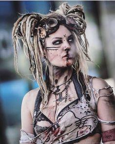 heres the new version of my character Bubblegum ; Apocalypse Makeup, Apocalypse Costume, Apocalypse Fashion, Apocalypse Aesthetic, Apocalyptic Clothing, Post Apocalyptic Costume, Post Apocalyptic Fashion, Cosplay, Warrior Makeup