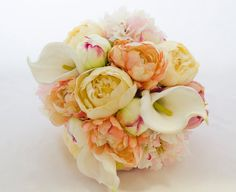Peach cream Wedding Bouquet Peony Calla lily Real Touch