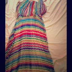 Pleated rainbow maxi dress 100% polyester Long vertical pleated maxi with spaghetti straps. No stains, snags, or imperfections Amanda Lane Dresses Maxi