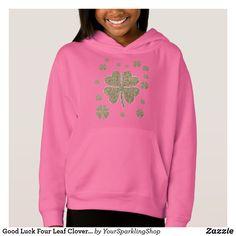 Good Luck Four Leaf Clovers Gold Look Pink Shirt #fourleafclover #clover #goodluck