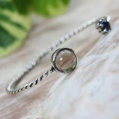 Smoky quartz and iolite gemstones cuff bracelet with sterling silver twist band