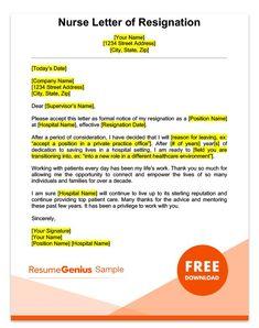Sample Resignation Letter For A Nurse
