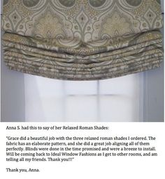 "RELAXED Roman Shade  - Custom Made To Order Just for You Up To 36"" X 36"" ONLY  89.77. $89.77, via Etsy."