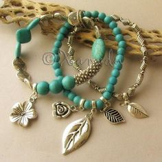 Turquoise Flower Garden Elastic Stretchy Bracelet - Triple Strand Turquoise Gemstone Bracelet with Silver Plated Flower And Leaf Charms