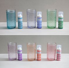 How to easily tint mason jars using Martha Stewart 'Liquid Fill' Glass Paint @Martha Stewart Maybe for tea lights instead of mason jars? Tint plain glass bowls, etc if I can't find teal and pink bowls for baby shower.