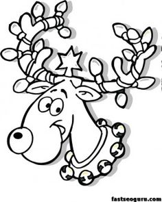 Free Christmas Reindeer in Lights coloring page for kids print out