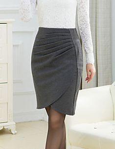 De las mujeres Faldas-Sobre la rodilla Tallas Grandes / Para Trabajo Microelástico-Poliéster