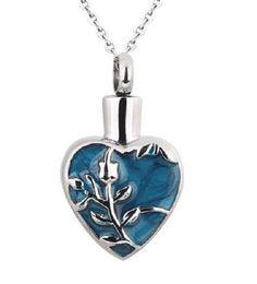 Flower On Blue Heart Cremation Jewelry Keepsake Pendant Memorial Urn Necklace