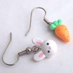 Bunny and Carrot Earrings - Mismatch Earrings - Easter Bunny Earrings - Fun Dangle Earrings - Easter Earrings - Carrot Earrings