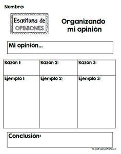 Great graphic organizer------ Spanish Opinion Writing unit for Kindergarten, first and second grande. Escribir opiniones en espanol.