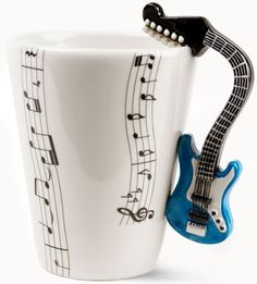 Blue Guitar Handmade Coffee Mug - Handmade  Hand Painted With Love.    link: