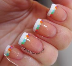 Peace, Love and Polish: Easter Nails: Simple French Mani With Colorful Dots Gorgeous Nails, Love Nails, Pretty Nails, Garra, French Nails, French Toes, Essie, Camo Nail Designs, Easter Nails