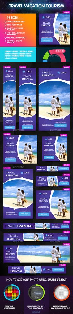 Travel Vacation Tourism Banner — Photoshop PSD #tourism #advertising • Available here → https://graphicriver.net/item/travel-vacation-tourism-banner/14864899?ref=pxcr
