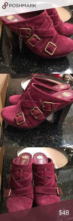 """Juicy Couture Wine Colored Suede Clogs-9 Beautiful and comfortable shoe/clogs from Juicy with 4 1/2"""" heels. Worn once. Wrong size for me. Your gain! Juicy Couture Shoes Mules & Clogs"""