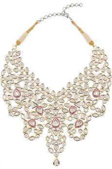 Kenneth Jay Lane                                  Maharani cubic zirconia and ruby necklace