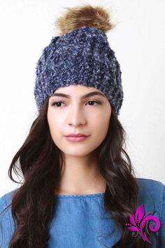 Fur Pom Pom Chunky Knit Beanie