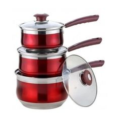 Red Cookware Set Sauce Pans 3 Pieces Non Stick Kitchen Stainless Steel Pots New