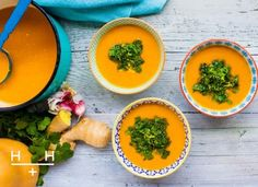 Squash and Ginger Soup with Coriander Lemon Drizzle - this soup is rich in vitamins and minerals, with ginger to energise and coconut oil to provide satiety and a rich, full flavour.