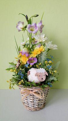dekorBEA / Vesela jarna dekoracia v kosicku Planter Pots, Easter, Drink, Food, Soda, Meal, Essen, Hoods, Beverage