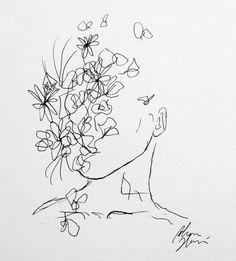 Continuous Line Art Doodles Best Ideas Kunst Inspo, Art Inspo, Art And Illustration, Art Sketches, Art Drawings, Pen Sketch, Frida Art, Arte Sketchbook, Art Hoe