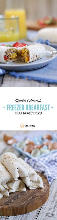 Super EASY and FREEZER-FRIENDLY make-ahead breakfast burritos. These burritos are made with healthy, real food ingredients to start your morning right! A family favorite. Perfect for busy weekday mornings.