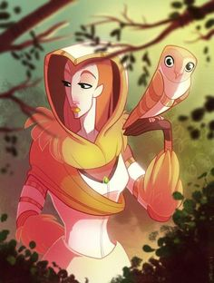 What do you call someone who hunts with an owl? The barn owl is adorable. I like how the huntress' design has an owl theme.