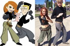 My daughter as Kim Possible in 2013. We both put all this costume together with thrift  store finds. Her friend as Ron Stoppable also put his costume with thrift store finds.