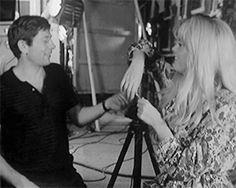 Roman Polanski and Catherine Deneuve on the set of Repulsion, 1964.